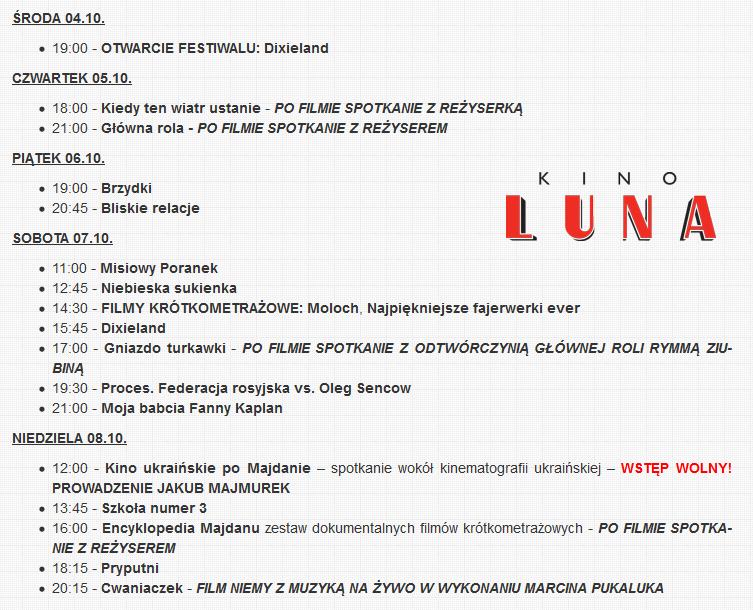 Harmonogram Ukraina! Film Festival